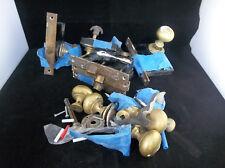 Lot Of 6 Vintage Brass Metal Interior Door Locks Knobs Hardware