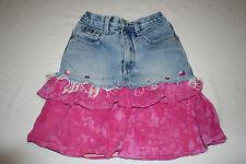 Girl's REVOLT Denim Jean Skirt Frayed Fringe Jewels Hot Pink Ruffles Size 3T