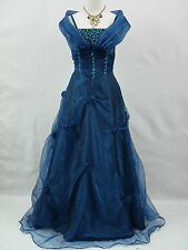 Cherlone Blau Hochzeit Ballkleid Brautkleid Abendkleid Brautjungfer Kleid 42