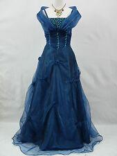Cherlone Übergröße Blau Ballkleid Brautkleid Abendkleid Brautjungfer Kleid 50