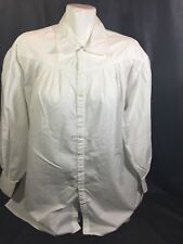 Liz Wear Men Casual White Shirt Button Up Size M Long Sleeve Fits Big  Bin83#36