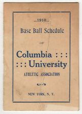 SCARCE 1910 COLUMBIA UNIVERSITY Baseball Schedule COLLEGE New York City IVY
