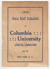SCARCE 1910 COLUMBIA UNIVERSITY Baseball Schedule COLLEGE New York City IVY