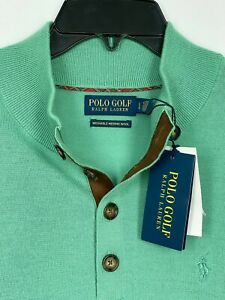 Polo Golf Ralph Lauren Men's Merino Wool Green Henley Sweater $188 NEW