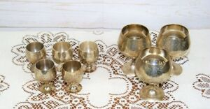 Assortment 8 Silver Plated Vintage Engraved Game of Thrones Style Metal Goblets