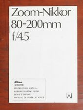 NIKON 80-200MM, F4.5 ZOOM NIKKOR INSTRUCTION BOOK/164853