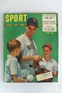 Vintage SPORT Magazine April 1948 Ted Williams Baseball Man Cave Bar Decor Old