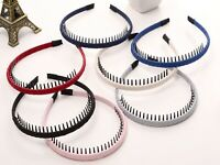 4Pcs Mixed Colour Fabric Covered Alice Band Comb Headband 10mm with Teeth Hair
