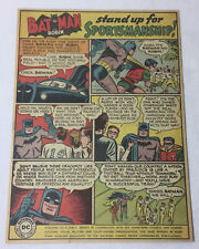 1949 BATMAN Anti-Racism Civil Rights PSA ad page ~ Stand Up for Sportsmanship