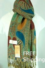 DG Women's Pashmina Scarf Wrap-paisley Gold Red Green Silk Cashmere # 029