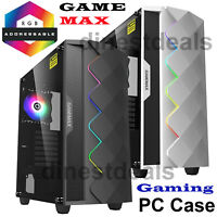 Game Max Diamond ARGB LED Mid ATX Gaming PC Case 120mm Ring Fan Black & White UK