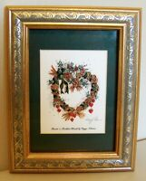 "8714:  Peggy Abrams Print ""Hearts ""n Mistletoe Wreaths"" Hand Signed In Pencil"