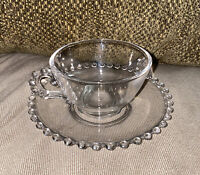 Vintage Imperial Candlewick Clear Glass Coffee Cup and Saucer Beaded Bubble Edge