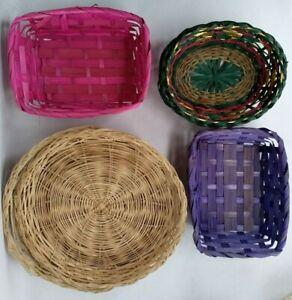 3 × PLATE HOLDERS 3 × BASKETS cane woven boho decor wall hanging colourful xmas