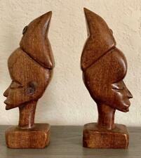 AFRICAN HAND CARVED BOOK END WOOD SCULPTURES - VINTAGE MALE / FEMALE