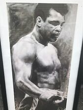 Autographed Muhammad Ali Print Framed Stephen Holland Framed PSA Sticker Only