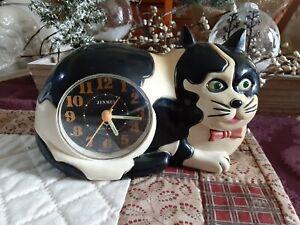 Vintage Plastic Tuxedo Cat Clock With Alarm Time Piece Black White