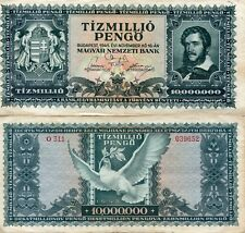 Banknote 1945 Republic Hungary Hungarian 10000000 Pengo Tildy 10 million
