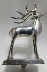 Genuine Brass Reindeer Merry Christmas Holiday Stocking HeavyHanger Holder Hook