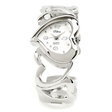 ❤ Silver Bangle with Heart Shape Dial and Hearts Bracelet Cuff Watch for women