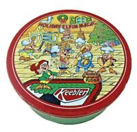 "1989 Keebler Elves Holiday Cookie Tin - 10"" x 4"" - Christmas Holiday Elfin Magic"