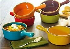 French Onion Stoneware soup bowls with handles set of 6. Large27oz