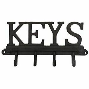 Cast Iron Wall Mounted 4 Hook Key Holder - Rustic, Vintage Style Rack with Hooks