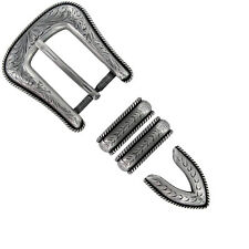WESTERN ANTIQUE ROPE EDGE ENGRAVED  4 piece Set BUCKLE SET FITS 1 inch BELT