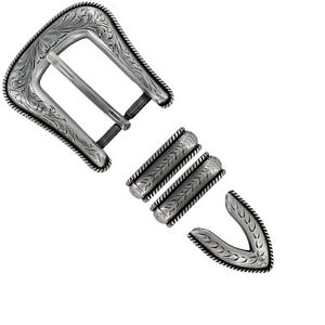 Texas Seal Silver Western Buckle Double Loop Tip Belt Set 4-piece with screw