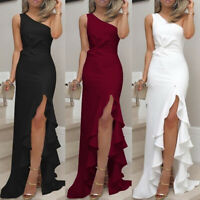 Women One Shoulder Split Maxi Long Ball Gown Prom Dresses Evening Cocktail Party
