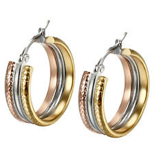 2pcs Tri-color Stainless Steel Hoop Stud Piercing Earrings for Men Women*24MM