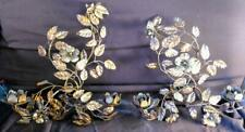 Pair of Two 2 Vintage Tole Gold Floral Wrought Iron Italian Wall Sconces Set MCM