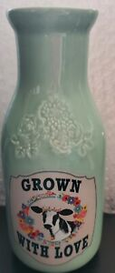 Pioneer Woman Milk Jug Vase Jar Bottle Teal Cow Spring 2021 Decor Decoration