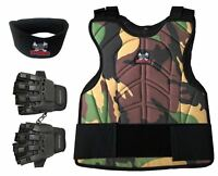 Maddog Tactical Half Finger Glove Chest Protector and Neck Combo Trio Camo LXL