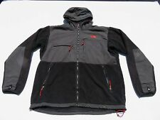 Men NORTH FACE Black Grid Hooded Denali Vented Polartec Fleece Sweater Jacket XL