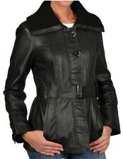 NWT Women's Belted Zip Up Black Leather Knit Collar Jacket Coat Black L Large