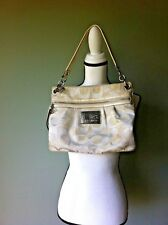 Coach Poppy Canvas/Leather White LOGO Signature Shoulder Bag
