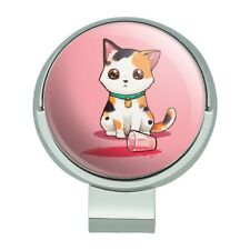 Kawaii Cute Cat Spilled Glass of Water Golf Hat Clip With Magnetic Ball Marker