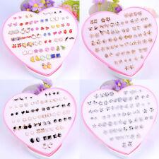 12/36Pair Lot Women Ear Stud Earrings Hypoallergenic Crystal Fruit Girls Jewelry