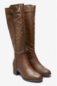 The Next Best Forever Comfort Brown Knee High Block Heel Boots UK 3 - 9