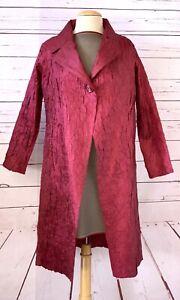 NWT $893 MASAKI MATSUKA One Size Pleated Plisse Coat Jacket Wine Red