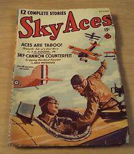 "1939 Comic PULP FICTION Magazine/Novel~""SKY ACES""~Aces Are Taboo!~"
