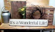 Wooden Winter Sign, It's A Wonderful Life, Holiday Decor, Inspirational Sign