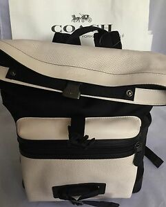 COACH F56662 Explorer Back Pack Perforated Mixed Materials Chalk/Black NWT