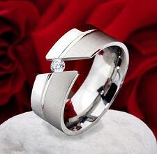 Verlobungsring Damenring aus Edelstahl mit Zirkonia Ringgravur PG1D