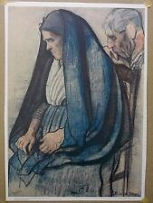 Vtg Joseph Stella (1847-1946) Offset Barton Press Lithograph of Old Couple