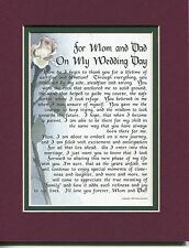 """""""For Mom and Dad On My Wedding Day"""" #114, A Gift Present Poem For Parents On You"""