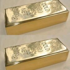 "2 Fake fine GOLD bullion Bar paper weight 6"" prop heavy brass polished 999.9 B"