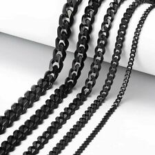 "18""-30"" Stainless Steel Black Tone Chain Cuban Curb Mens Necklace 3/5/7/9/11mm"