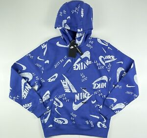 Nike Sportswear All Over Print Logo Pullover Hoodie Sweatshirt CU4341-430 Medium